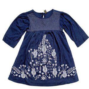 Zara Navy Blue Embroidered Peasant Dress